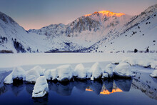 USA, California, Sierra Nevada Range. Sunrise On Mountain And Convict Lake.