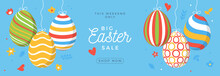 Easter Egg Sale Horizontal Banner. Easter Card With Flat Eggs Hang On A Thread, Colorful Ornate Eggs On Blue Modern Background. Vector Illustration. Place For Your Text
