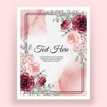Elegant Rose Pink And Burgundy Flower Watercolor Frame Background Shape