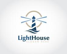 Abstract Lighthouse Glow Light Logo Symbol Design Illustration Inspiration