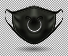 Protective Comic Black Mask From Covid 19. Party, Halloween And Other Fun. Bull Nose Print With Metal Ring. Realistic 3D Illustration. Isolated On A Transparent Background. Vector.