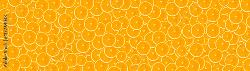 long banner with orange background. background with oranges, flat top view.