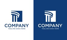 Logo Design Law Firm Or Shield With Building Poles. Minimalist Vector Logo With A Blue Pole Element. Can Be Used For Law Firms.