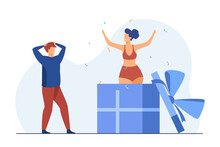Man Getting Huge Gift Box With Woman Inside. Present, Confetti, Surprise Flat Vector Illustration. Celebration And Party Concept For Banner, Website Design Or Landing Web Page