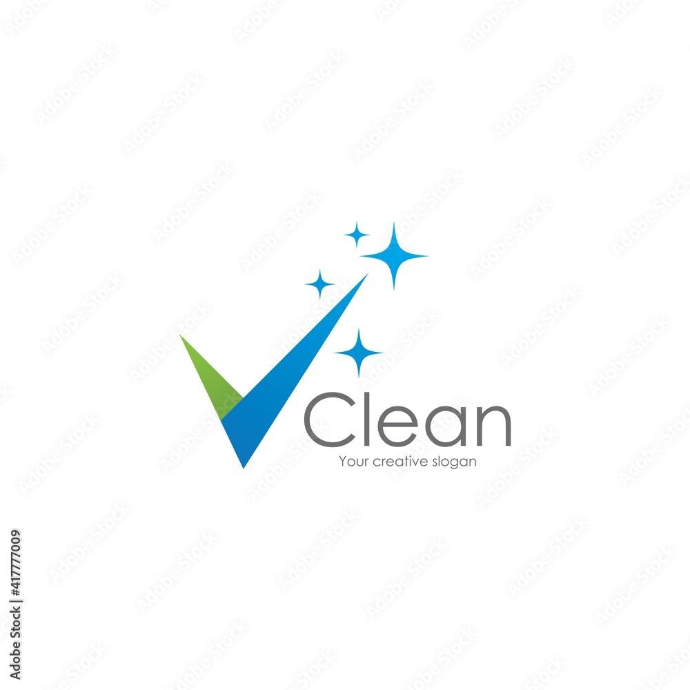 Fototapeta Cleaning logo and symbol
