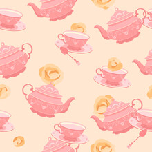 He Pattern Is Seamless. 18th Century Pink Tea Cup And Teapot. Against The Background Of Yellow Roses. Colorful Vector Illustration In Flat Style.