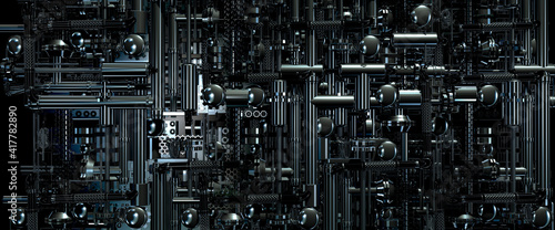 Photo Looking down onto industrial machinery made from pipes and gears in a science fi