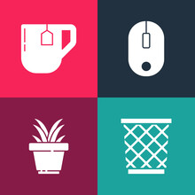 Set Pop Art Trash Can, Plant In Pot, Computer Mouse And Cup Of Tea With Tea Bag Icon. Vector.