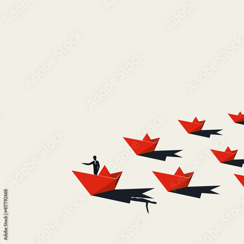 Business leadership vector concept with man in paper boat followed by others Tapéta, Fotótapéta