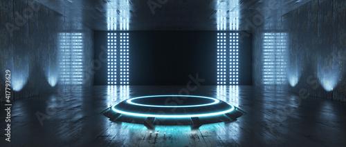 Fotografie, Obraz Futuristic Sci Fi Empty Stage neon. 3d rendering