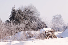 A Pile Of Wood Covered With Snow Surrounded By Frosty Trees In A Winter Landscape