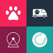 Set Pop Art Tennis Ball, Hamster Wheel, Veterinary Ambulance And Paw Print Icon. Vector.