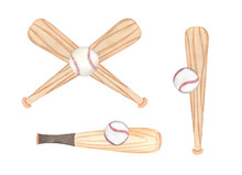 Watercolor Baseball Compositions, Painted On White Background, Hand Drawn
