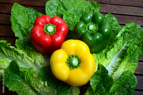 Photo Green, Red and Yellow capsicum
