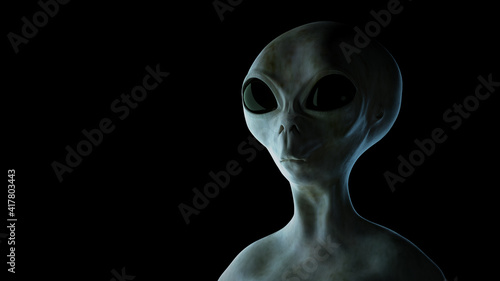 Canvastavla Spooky alien on black background. 3D rendered illustration.