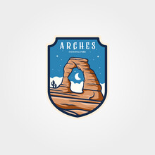 Arches National Park Emblem Logo Vector Sticker Patch Travel Symbol Illustration Design