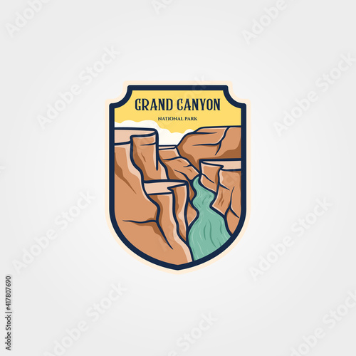Fotografiet grand canyon national park emblem logo vector sticker patch travel symbol illust