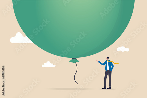 Canvas-taulu Stock market, crypto currency bitcoin bubble, risk of speculation investment, big debt balloon ready to burst concept, fearful businessman investor standing under huge big air balloon bubble