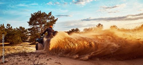 Fototapeta Cross-country quad bike race, extreme sports obraz