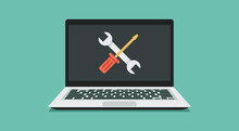 Computer Repair Service, Maintenance, And Technical Support Concept, Laptop With Wrench And Screwdriver On Screen, Vector Flat Illustration