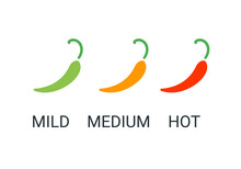 Red Chili Peppers Icon. Logo For Mexian Restaurant. Mild, Medium, Hot Spicy Food. Vector Illustration Symbol