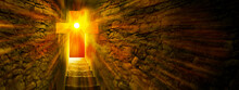 Jesus Christ Is Risen. Exit From The Cave In The Form Of Cross. Bright Sun And Stairs Leading To The Exit. Biblical Story Concept. Easter Sunday Holy Week Sunrise.