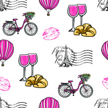 Fashion Seamless Pattern. Bonjour Paris. Pattern With Hand Drawn  Eiffel Tower And Lips. For  Fashion Clothes, T Shirt, Child, Wrapping Paper. Creative Girlish Design