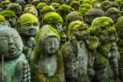 Fototapeta Buddhist stone statues at the Otagi Nenbutsu ji temple in Kyoto, Japan obraz