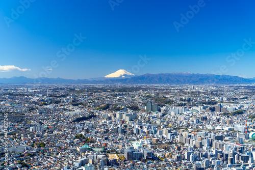 富士山と横浜 桜木町から 2021
