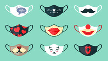 Protective Masks With Cool Drawings Set. Stylish Black Mustache Colorful Red Hearts Big Painted Lips With Clown Mask And Cute White Kitten Face Fun Protection Against Coronavirus. Vector Safety.