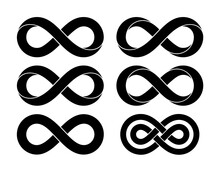 Set Of Infinity Signs Made Of Different Types Of Torsion And Intersection. Vector Tattoo Flat Design Illustration.