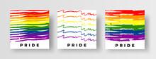 LGBT Pride Flag Social Media Post Template Collection. Set Of Creative Hand Drawn Doodle Pride Flag Illustrations In Brush Stroke Style. Vector Design Element Or Square Banner. LGBT Pride 2021