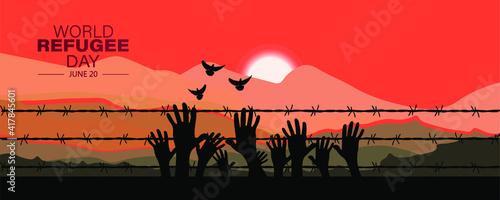 Obraz na płótnie Human right day conceptWorld Refugee Day