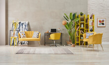 Grey And Yellow Home Interior Style, Stone Wall, Furniture Chair Sofa Decoration, Niche, Bookshelf And Green Vase Of Plant Room.