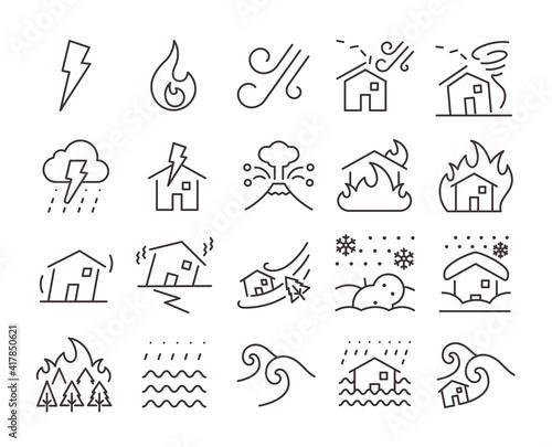 Canvas-taulu Disaster icon set