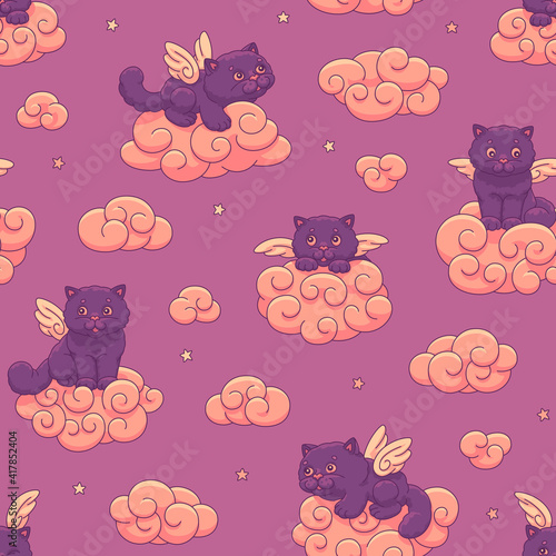 Seamless vector children's pattern of cute lilac winged kittens on the clouds on the background of the sunset sky with stars.