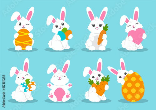 Happy Easter. Set of little cute rabbits. Carrot, bunny, eggs. Colored flat vector illustration isolated on blue background. Cartoon character.