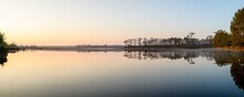 Panoramic View Of Sunrise Over The Lake In Nation Park, Thailand.