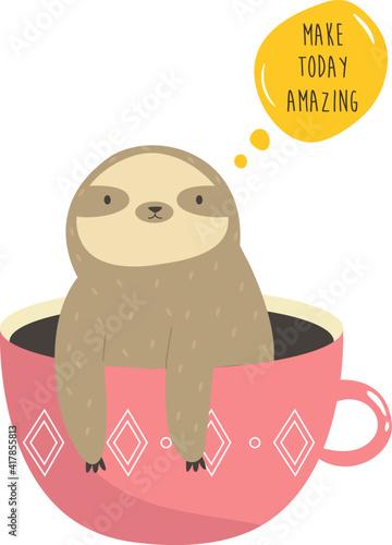 Fototapeta premium Funny sloth sitting inside of mug. Vector illustration of a cute animal.