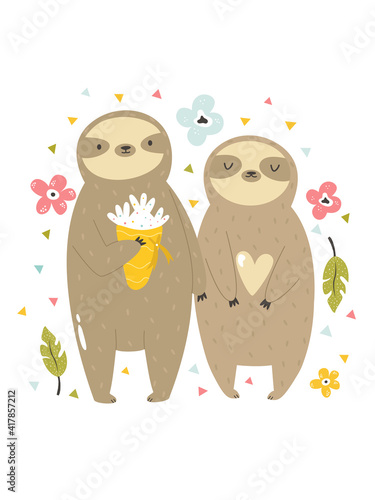 Fototapeta premium Funny illustration of two sloths in love.