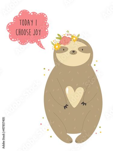 Fototapeta premium Funny sloth girl in a flower wreath. Vector illustration of a cute animal
