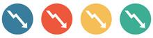 Bunter Banner Mit 4 Buttons: Pfeil Nach Nach Unten