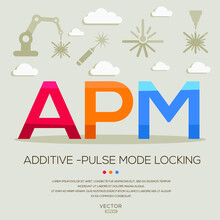 APM Mean (additive -pulse Mode Locking) Laser Acronyms ,letters And Icons ,Vector Illustration.