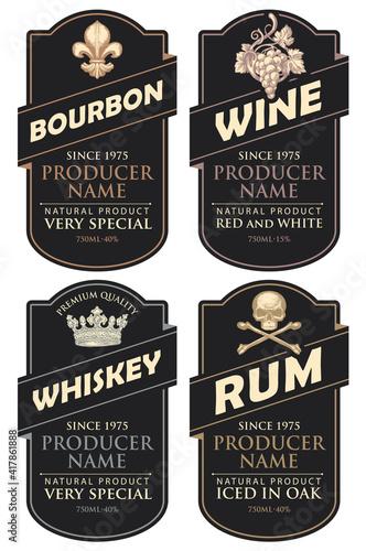 Fotografija Set of four vector labels for various alcoholic beverages in the figured frames