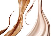 Cosmetic Foundation Liquid Splash, 3d Rendering.