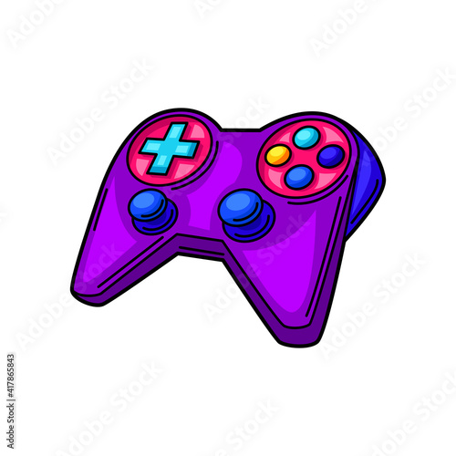 Illustration of gaming gamepad. Cyber sports, computer games, fun recreation. © incomible