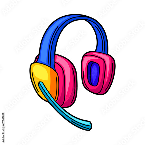 Illustration of gaming headphones. Cyber sports, computer games, fun recreation. © incomible