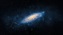 A View From Space To A Spiral Galaxy And Stars. Universe Filled With Stars, Nebula And Galaxy,. Elements Of This Image Furnished By NASA.