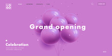 Grand Opening Web Banner With Bunch Of Round Purple Air Balloons On Purple Background, Modern Style Landing Page Design