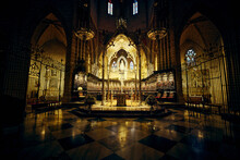 Interior View Of The Cathedral Of Pamplona